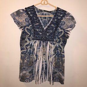 Apt 9 Blue Blouse Lace & Rhinestone Accent size M